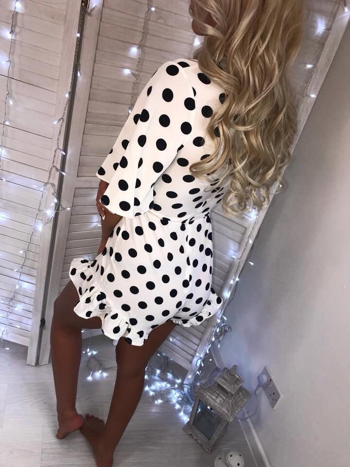 'Rosie' White Polka-Dot Belted Playsuit Playsuit