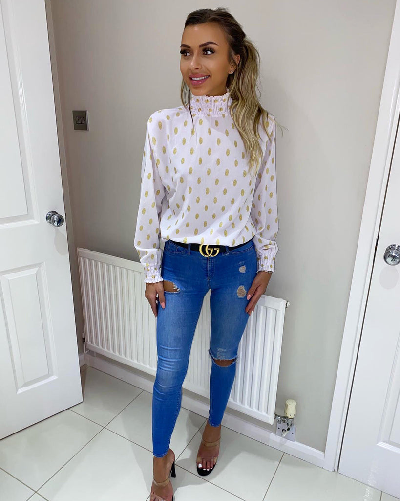 'Ella' White & Gold High-Neck Blouse