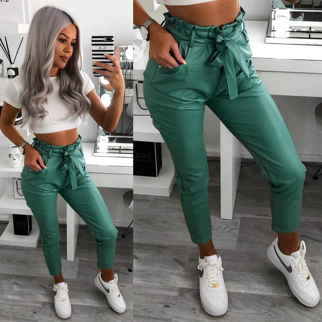 'Katriona' Green Faux-Leather Belted Paperbag Trousers