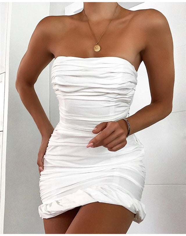 'Taylor' White Ruched Bandeau Bodycon Dress