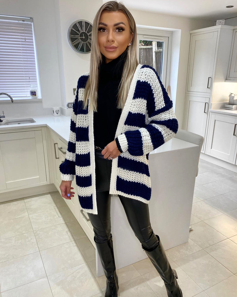 'Lara' Navy & Cream Stripe Knitted Cardigan