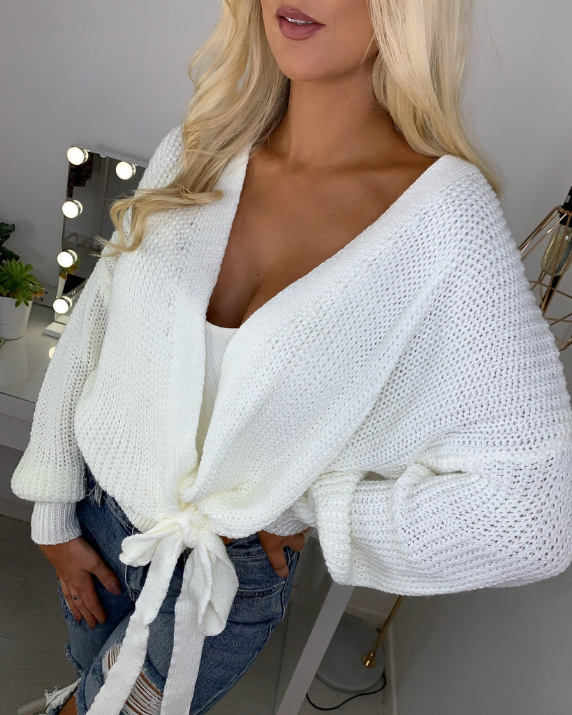 'Maya' Cream Knitted Wrap Cardigan