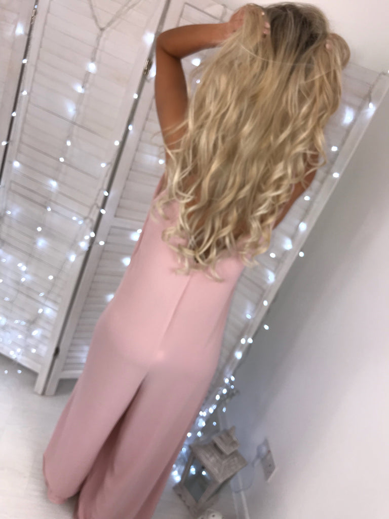 'Bailey' Dusky Pink Strappy Wide Leg Jumpsuit