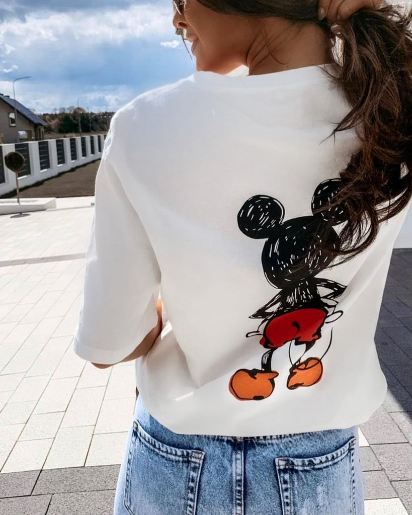 'Lane' White Mickey Tee