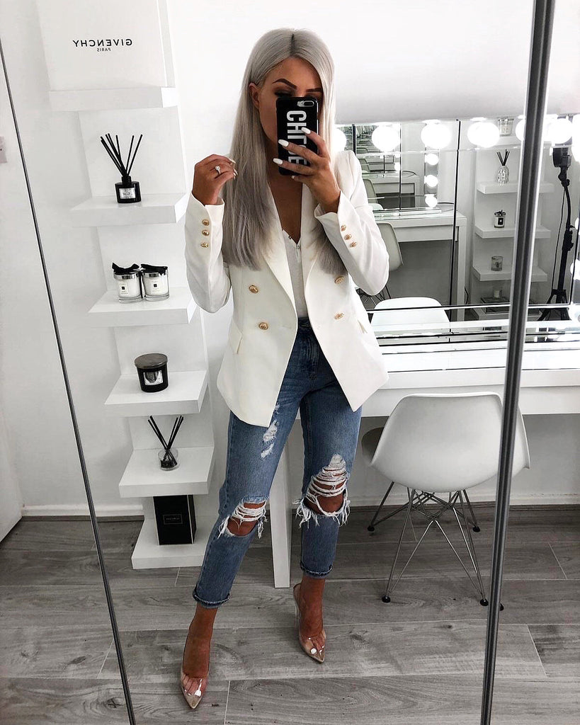 'Morgan' White Tailored Blazer with Gold- Button Detail