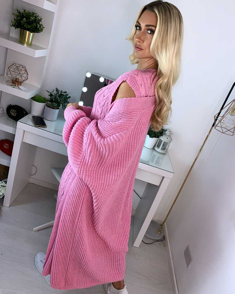'Cole' Pink Knitted Dress & Longline Cardigan Set