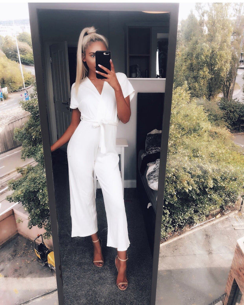 'Cammie' Cream Wrap-Front Jumpsuit with Tie-Belt
