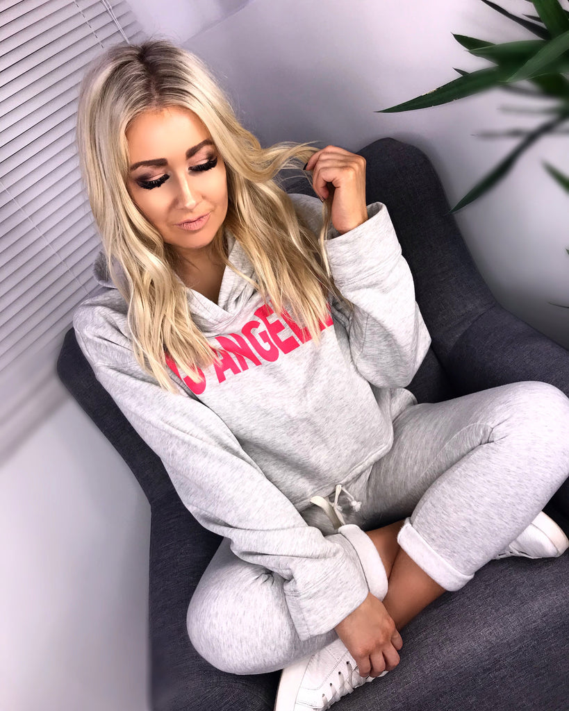'LOS ANGELES' Grey Slogan Hooded Tracksuit
