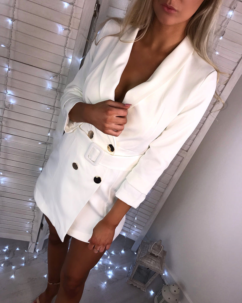 'Andrea' White Blazer Dress with Gold Button Detail