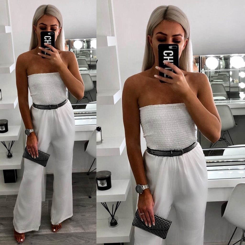 'Alexia' White Elasticated Bardot- Belted Jumpsuit