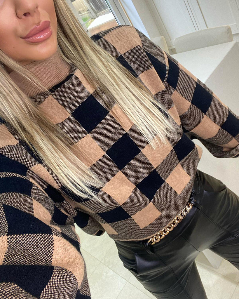 'Dana' Black & Tan Check Knitted Jumper