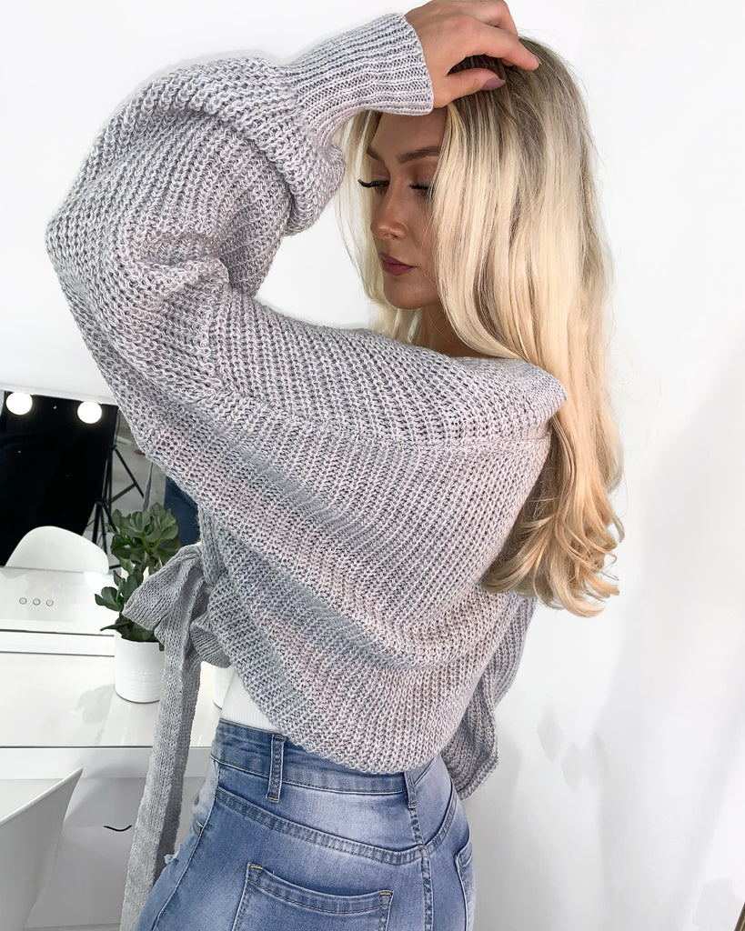'Maya' Grey Knitted Wrap Cardigan