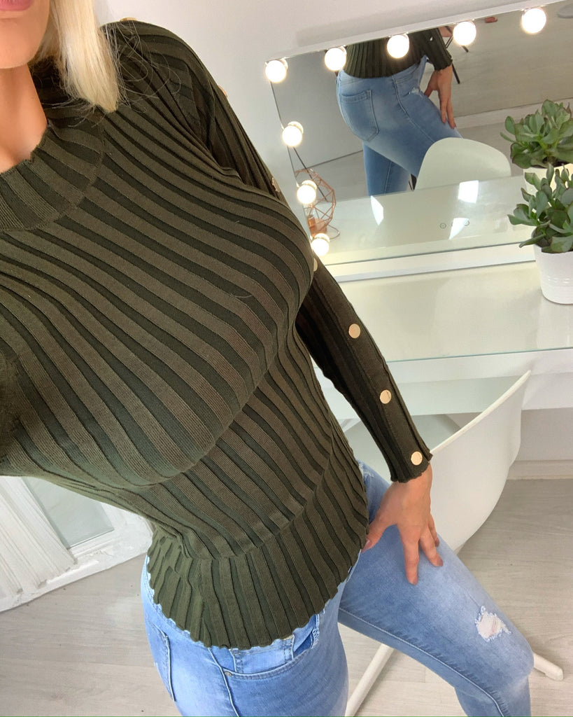 'Maisie' Khaki Green Ribbed Jumper with Gold a Button Detail