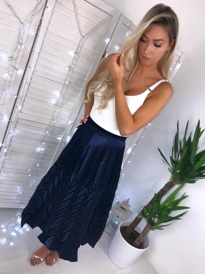 'Luciana' Navy Blue Satin Pleated Skirt