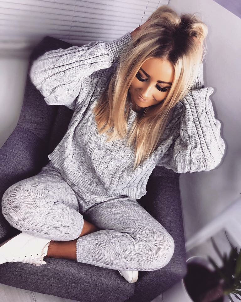 'Peyton' Grey Knitted Loungesuit
