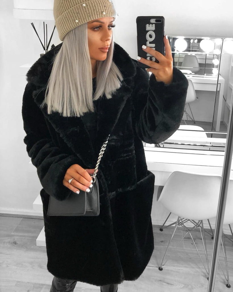 'Sally' Black Faux-Fur Coat
