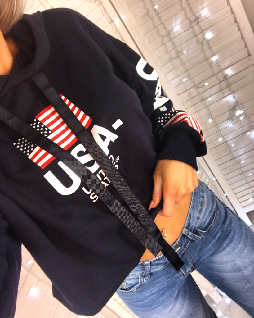 USA Navy Slogan Hooded Jumper