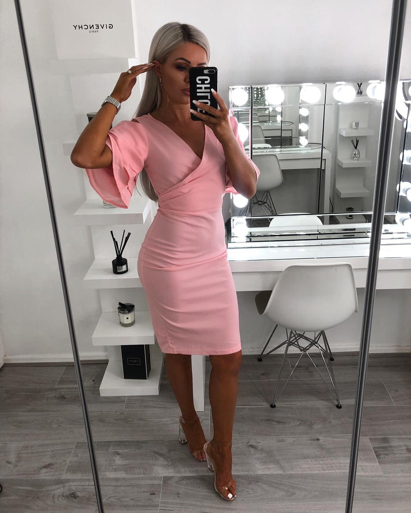 'Daley' Pink Multi Frill Sleeve Wrap Front Bodycon Dress