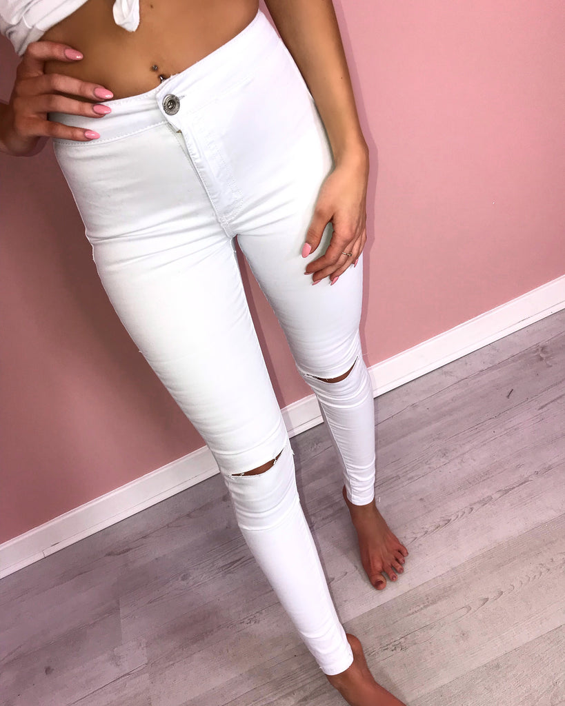 'Kiki' White Ripped-Knee High-Waisted Skinny Jeans