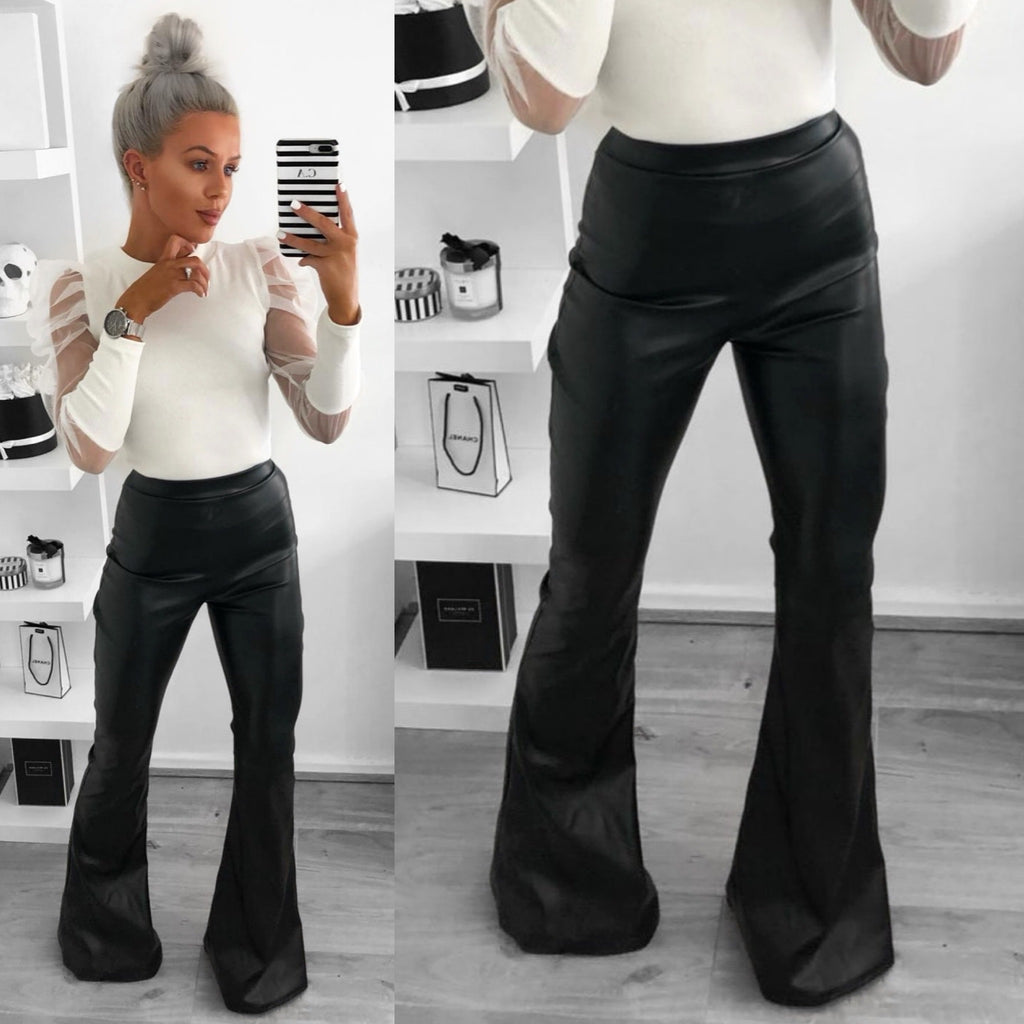 'Lara' Black PU Flare Trousers