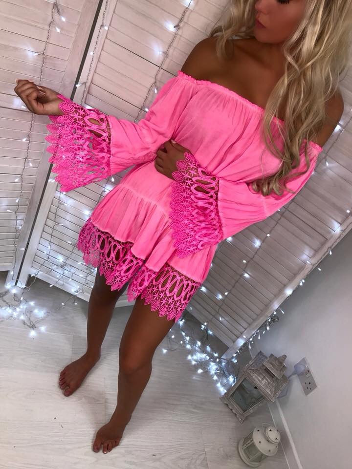 'Isabella' Pink Off-Shoulder Dress with Crochet Detail