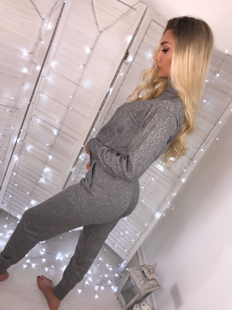'Bree' Grey Knitted Loungewear Set (PRE ORDER 14 DAY DELIVERY)