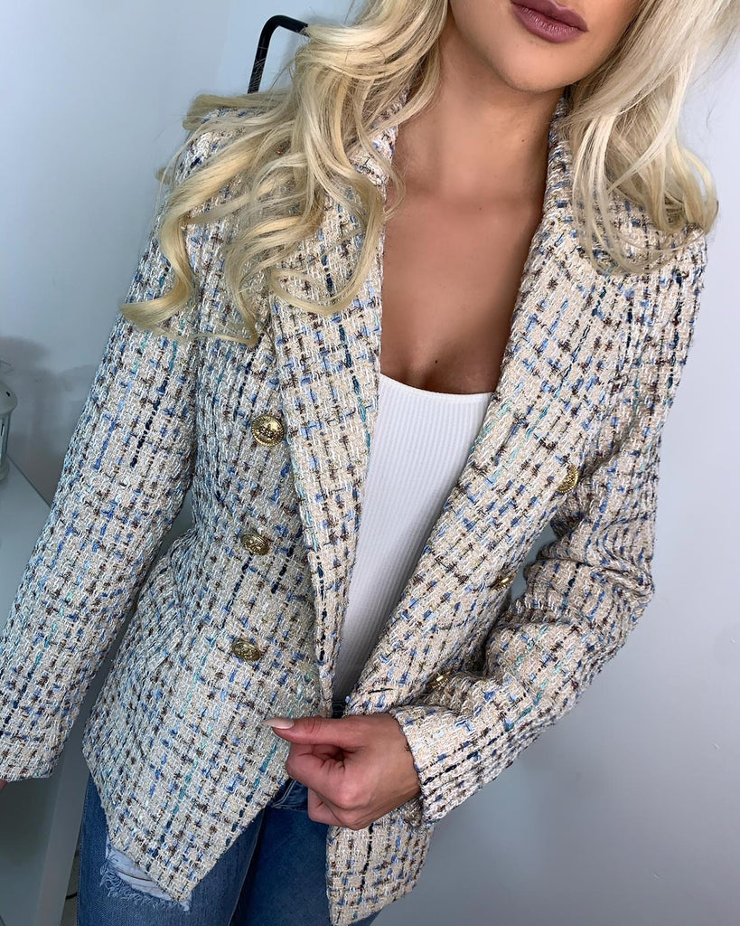 'Loretta' Cream Tweed Blazer with Gold-Button Detail