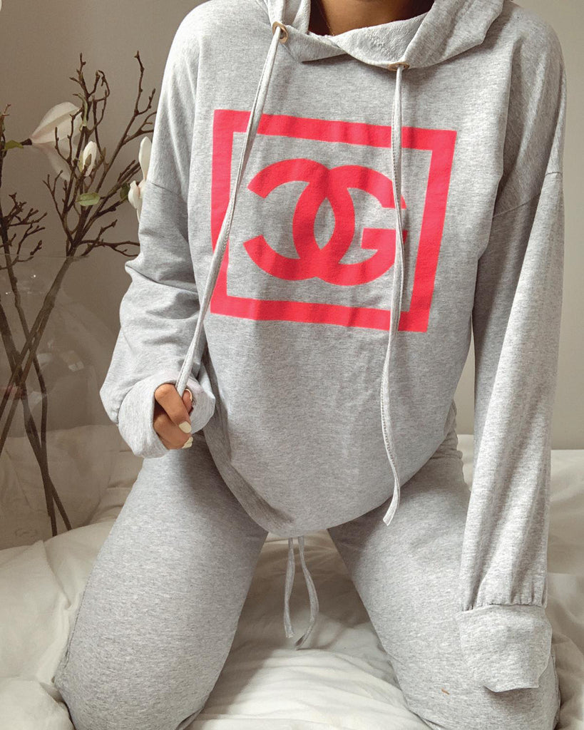 'Ava' Grey & Pink Slogan Drawstring Loungesuit