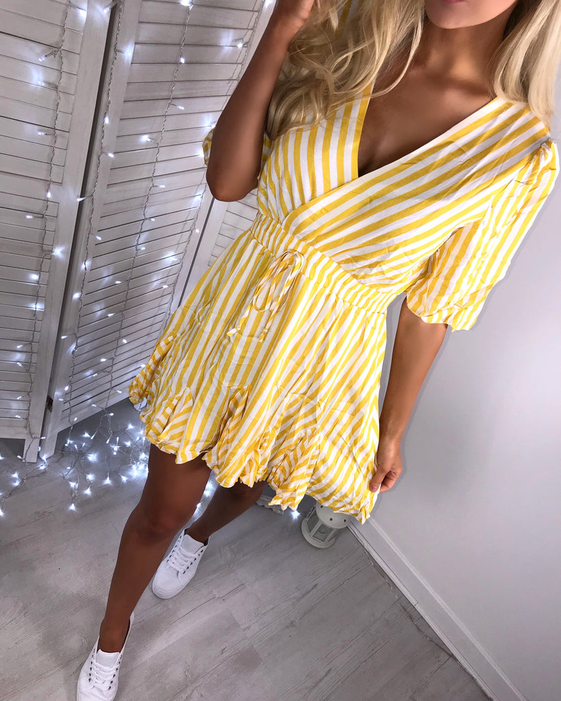 'Laine' Yellow & White Stripe Wrap-Over Dress with Frill Hem