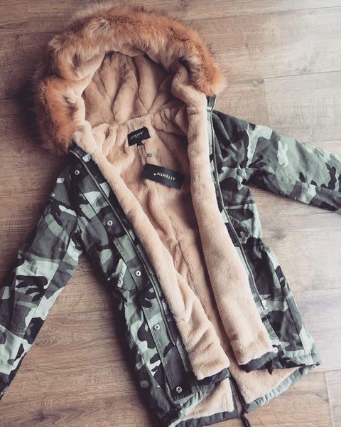 Camo Parka With Tan Faux-Fur Hood & Lining