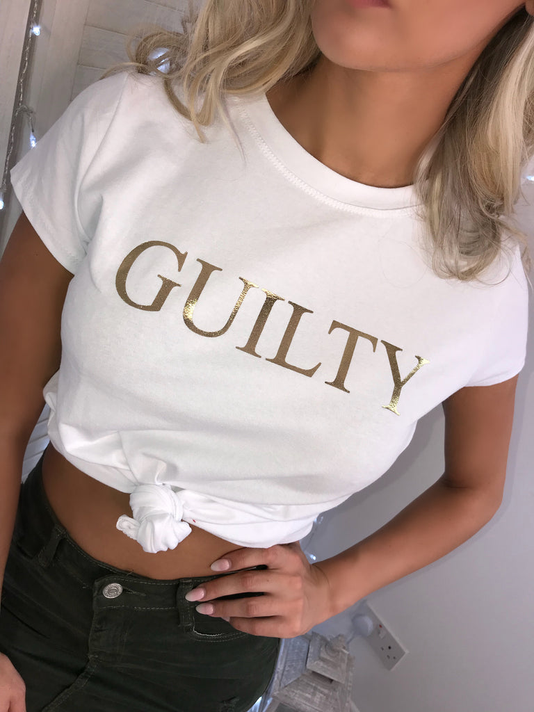 'GUILTY' White Slogan Tee