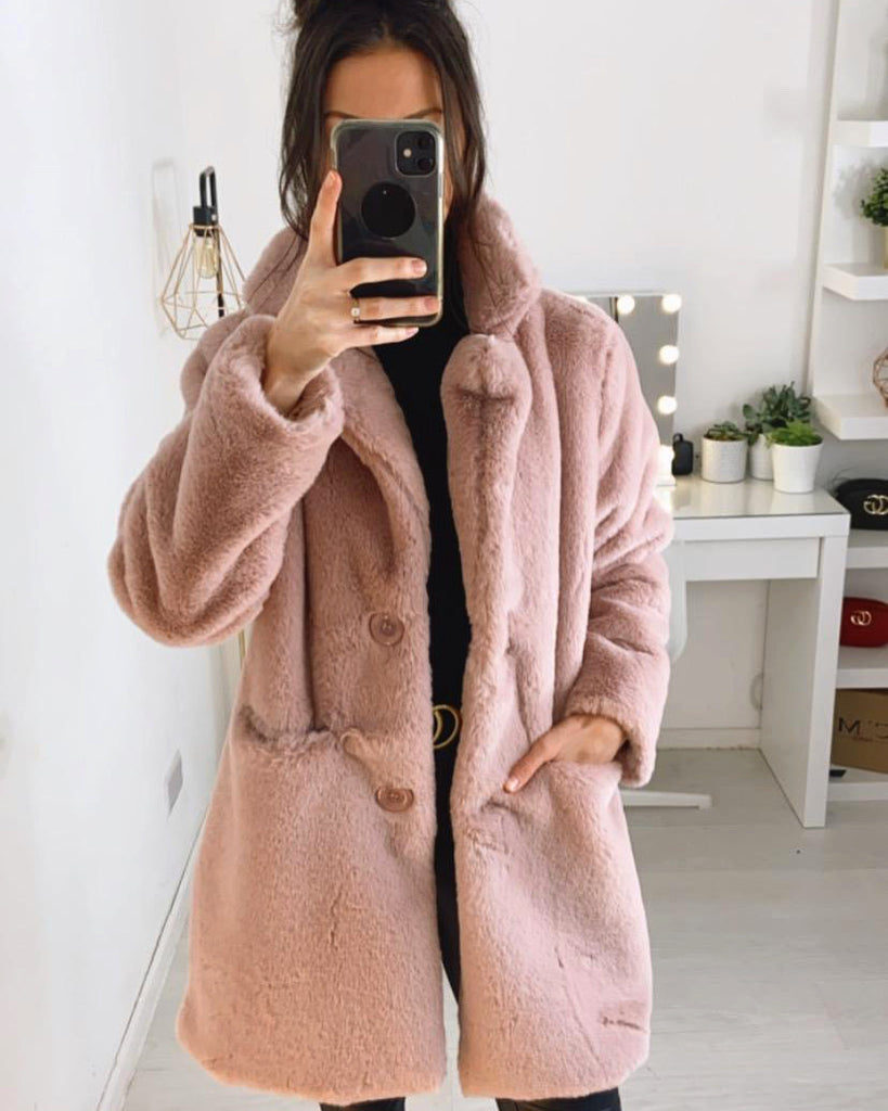 'Celia' Pink Faux-Fur Teddy Coat