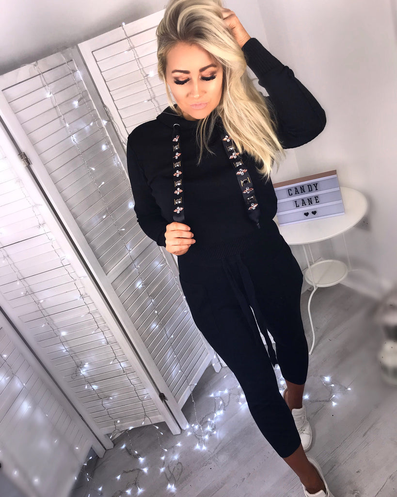 'Kitty' Black Hooded Loungesuit with Bejewelled Detailing