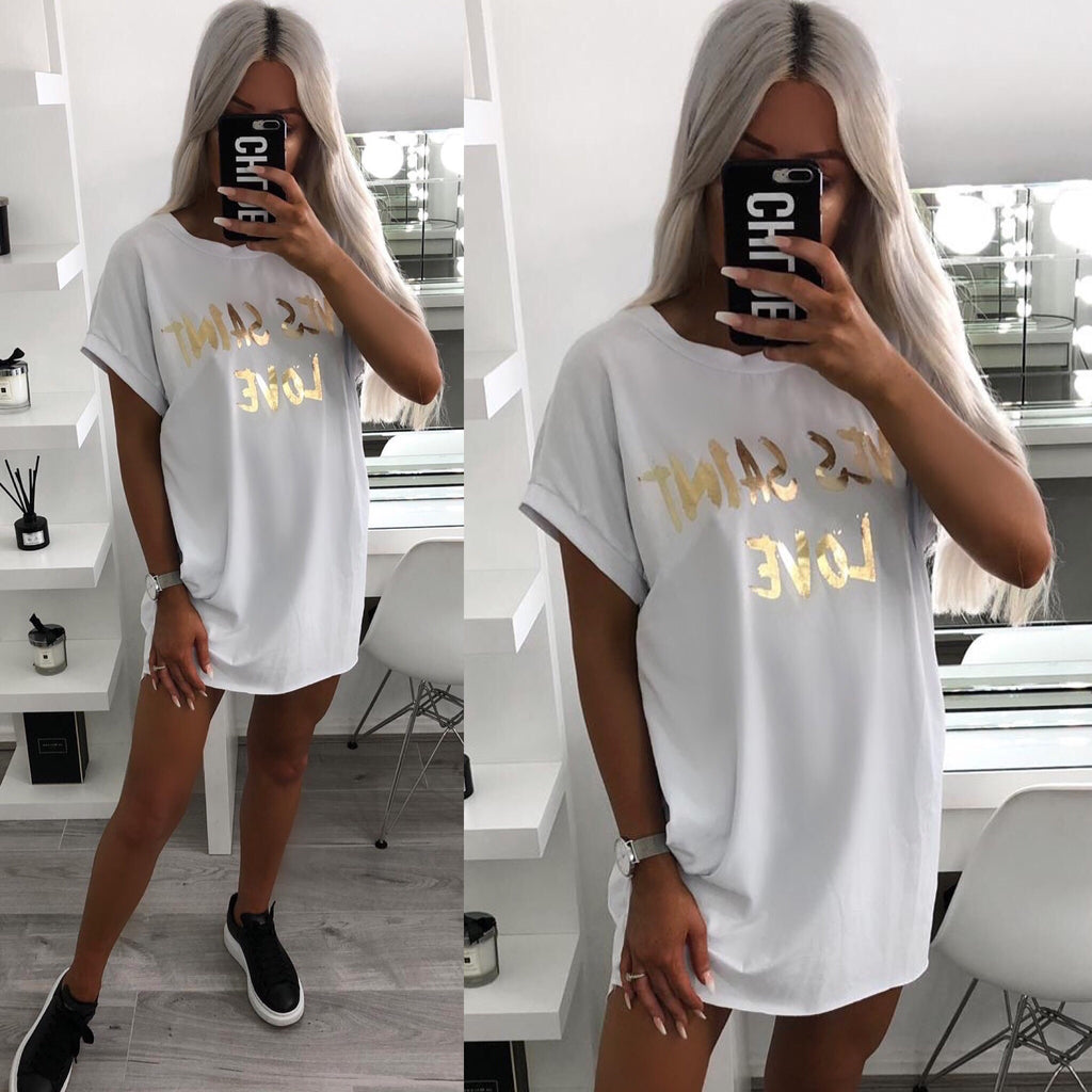 'Yves Saint Love' White & Gold Slogan Tee-Dress