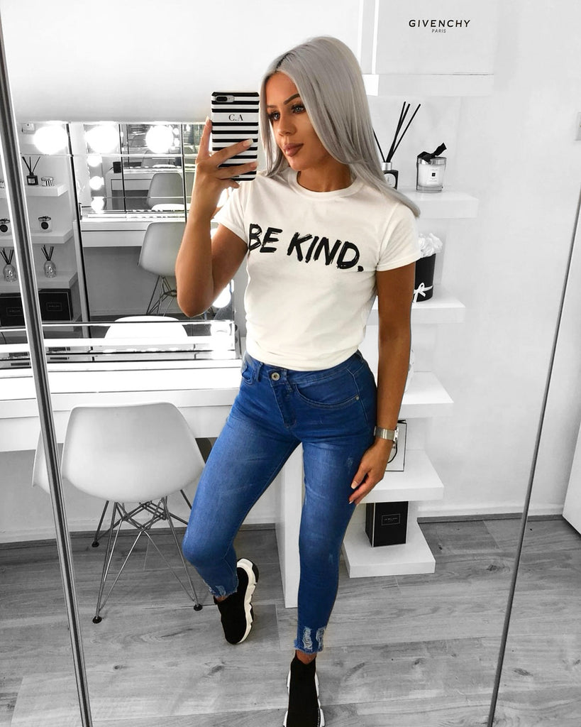 'BE KIND' White Slogan Tee