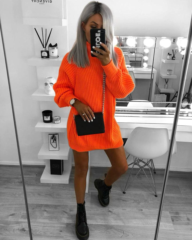'Amy' Orange Heavy-Knit Jumper Dress