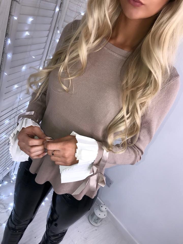 'Darcie' Beige Knit Jumper with White Cuff-Detail