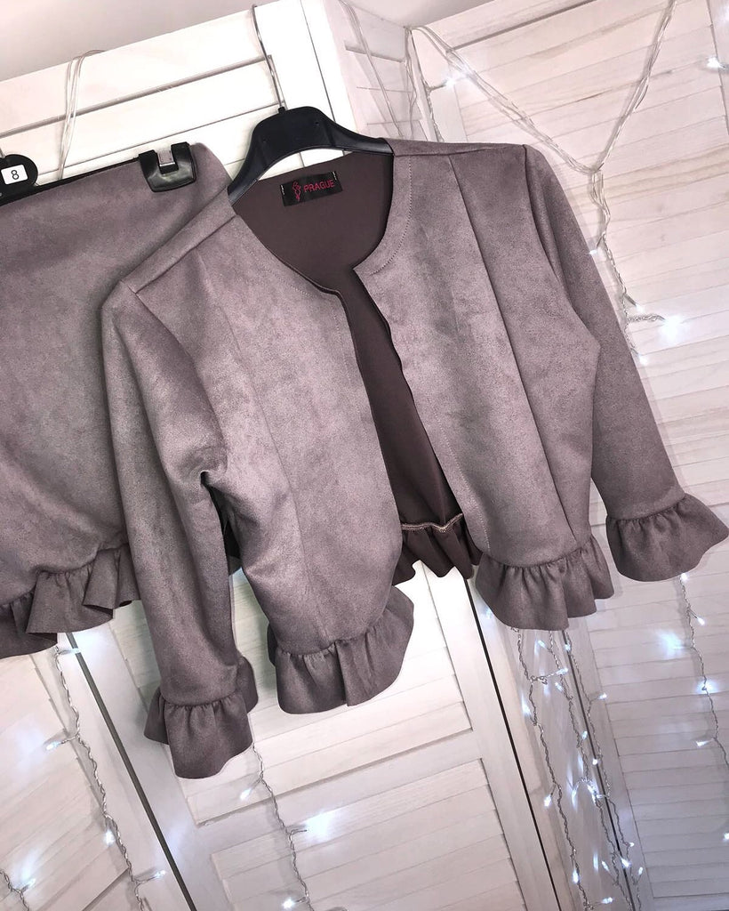 'Abriana' Grey Faux-Suede Jacket & Skirt Two-Piece