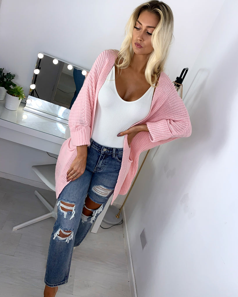 'Martina' Pink Knitted Cardigan
