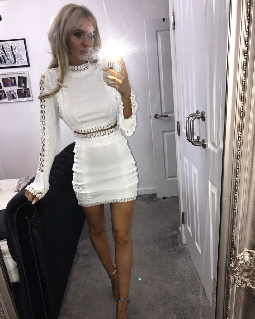 'Arabella' White Two Piece Crochet Flute Sleeve Co-Ord