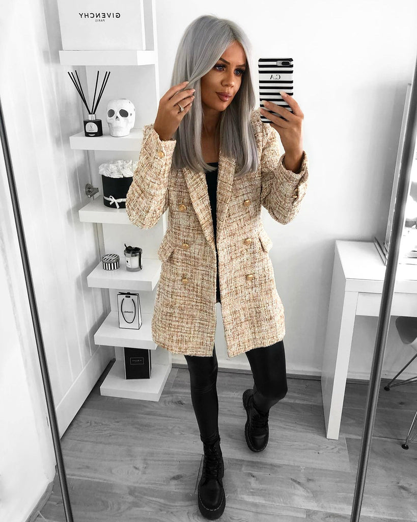 'Roma' Cream & Gold Tweed Blazer with Gold Buttons  (PRE ORDER 14 DAYS DELIVERY)