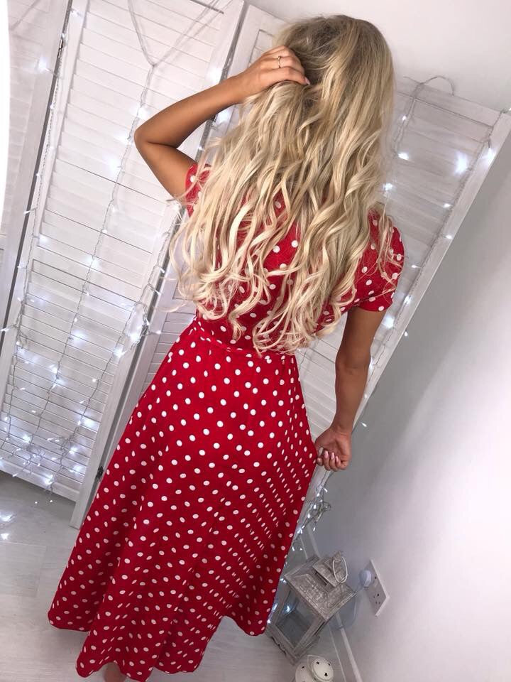 'Nicoletti' Red Polka-Dot Wrap-Over Maxi Dress with Tie-Belt