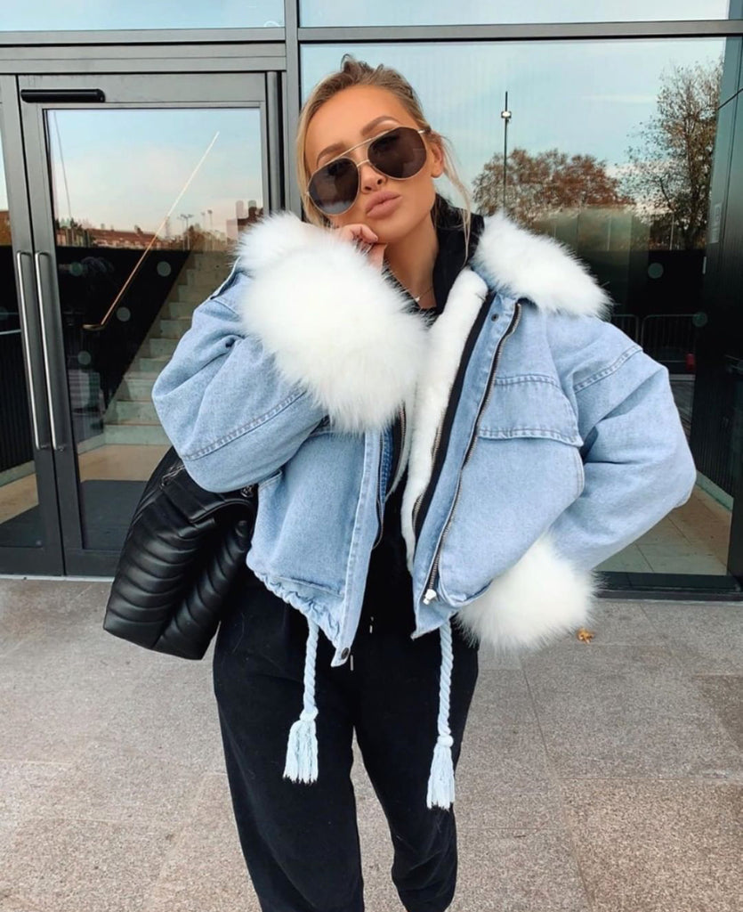 'Milan' Denim Faux-Fur Lined Coat