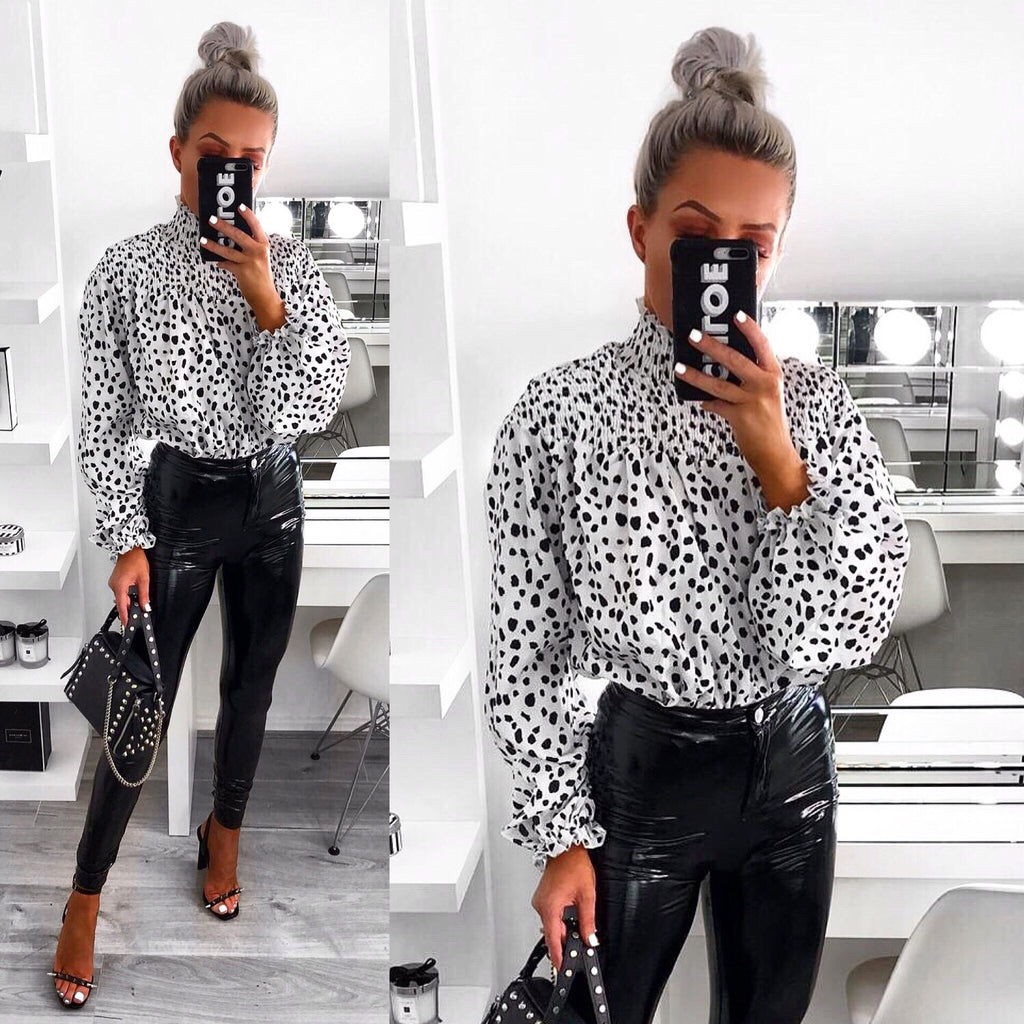 'Evah' White Dalmatian Print High-Neck Blouse