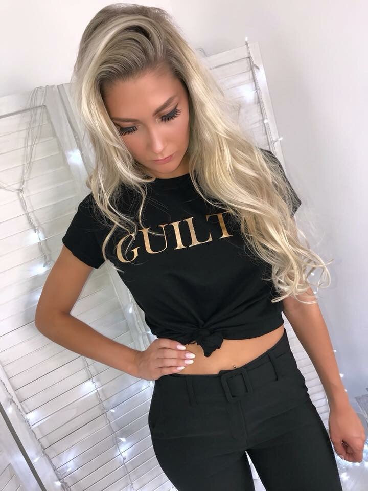 'GUILTY' Black Slogan Tee