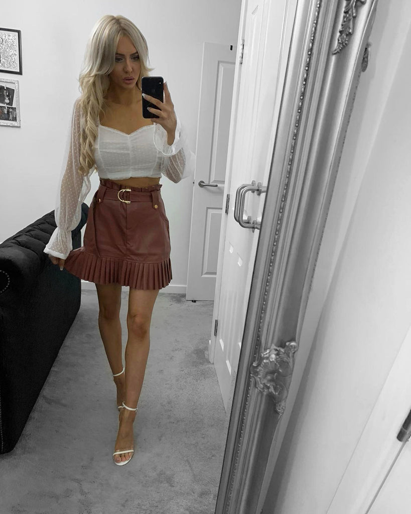 'Lianne' Tan Leather Skirt with Frill Hem