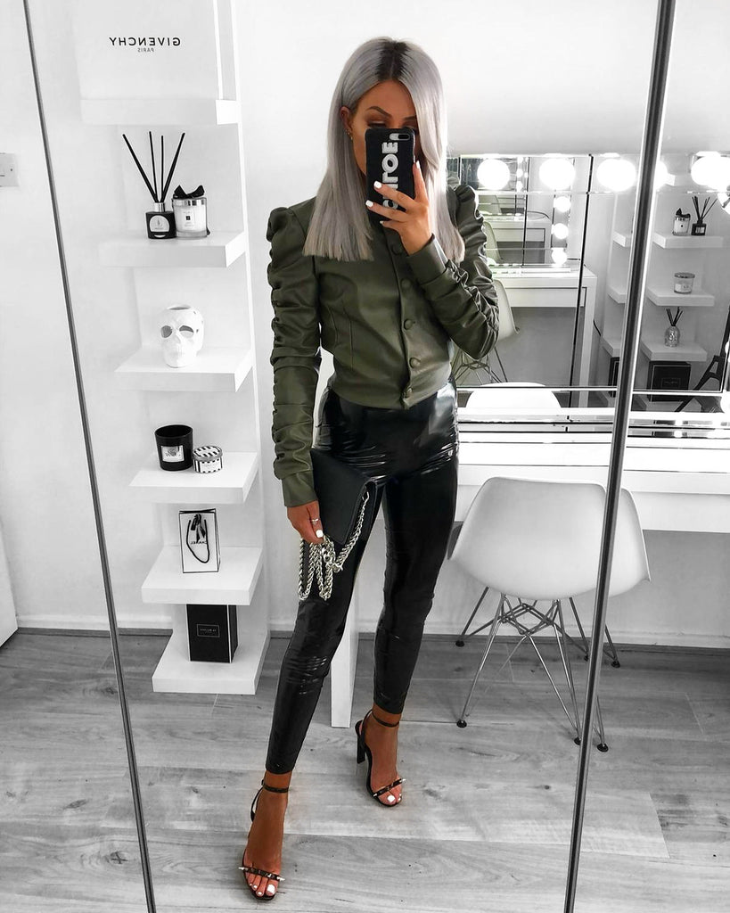 'Cher' Khaki Faux Leather Jacket