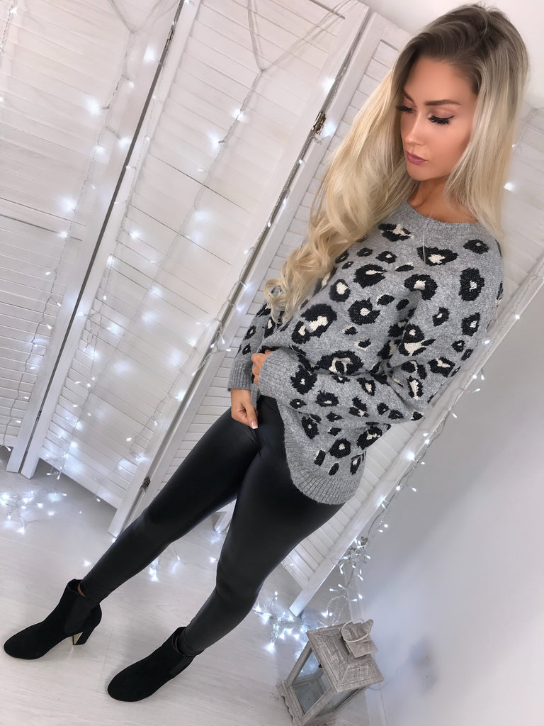 'Mia' Grey Animal-Print Knitted Jumper