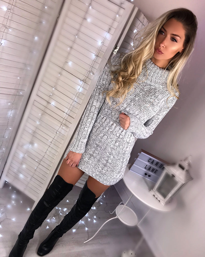 'Martine' Grey Knitted Roll Neck Jumper Dress
