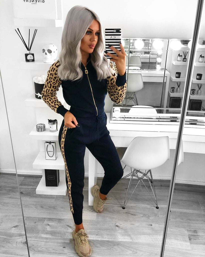 'Saylor' Navy Knitted Animal Print Loungesuit